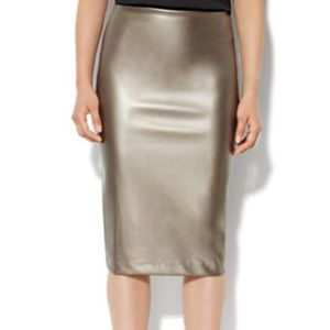 NY AND CO Gray Faux Leather Pencil Skirt, 18
